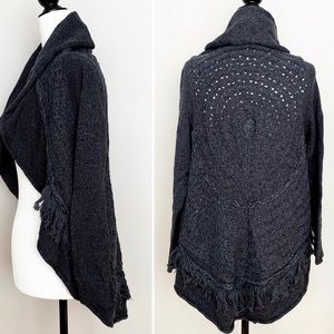 Knitted & Knotted Fringe Cardigan Anthropologie S